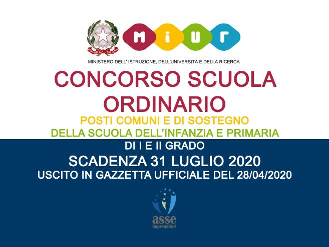 Concorso scuola ordinario 2020 scad. 31/07/2020